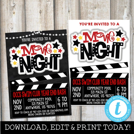 movie night invite outdoor movie night birthday movie etsy