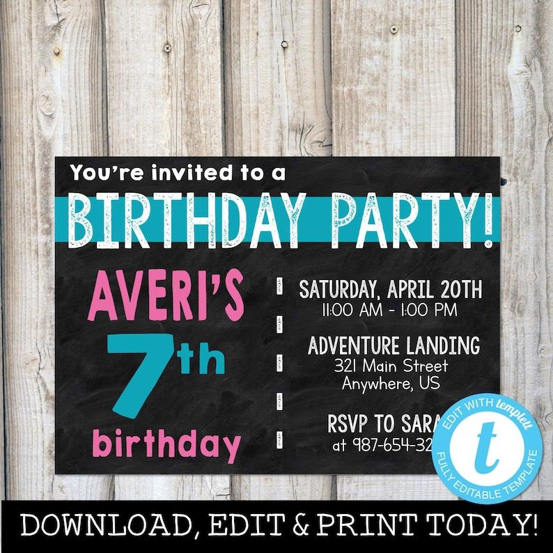 GIRL BIRTHDAY INVITATIONS Instant Download Digital