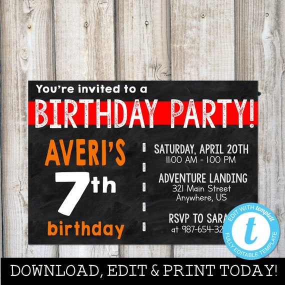 BOY BIRTHDAY INVITATIONS Instant Download Digital
