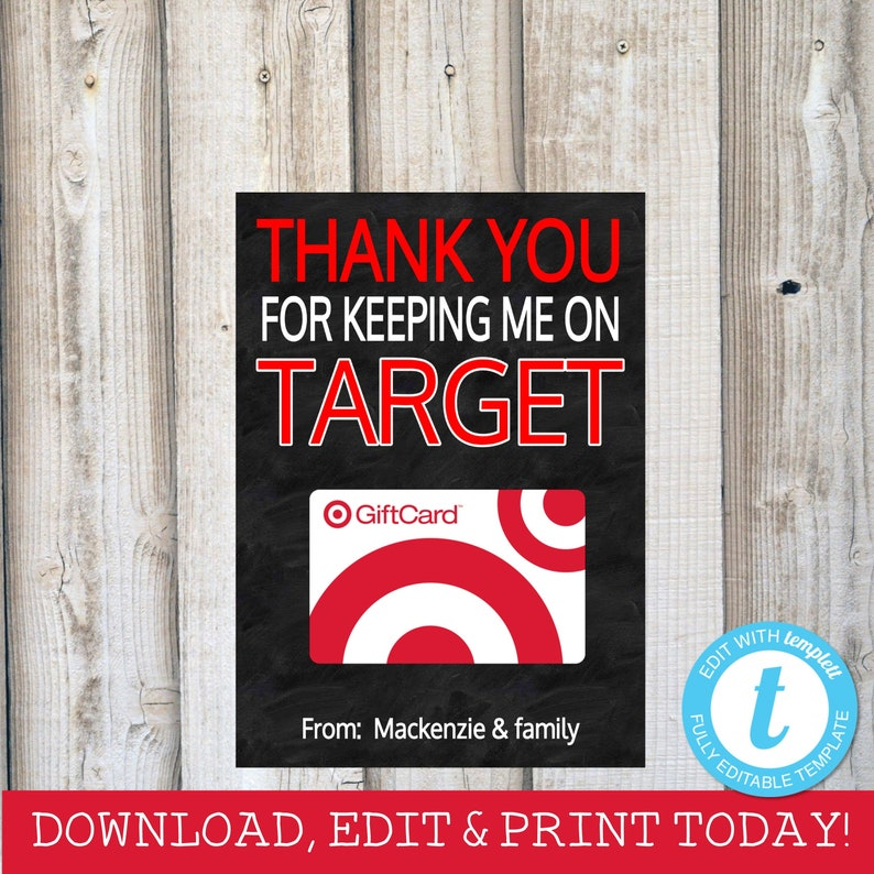 Target Gift Card Holder Teacher Gift Coach Gift Keeping Me On Target Thank You Card End Of Year Gift Chalkboard Instant Download Templett
