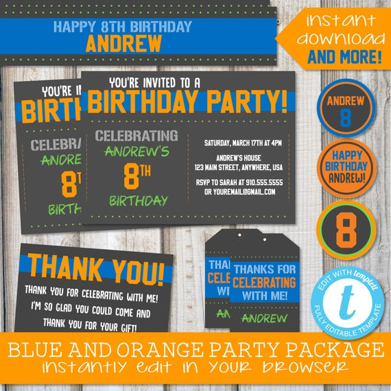 BIRTHDAY INVITATIONS Instant Download Digital