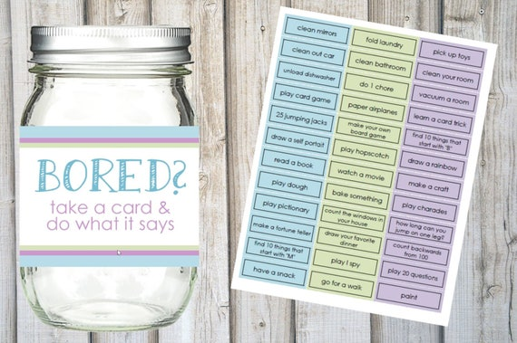 I'M BOARD JAR Printable Set  Kids Summer To Do List  36