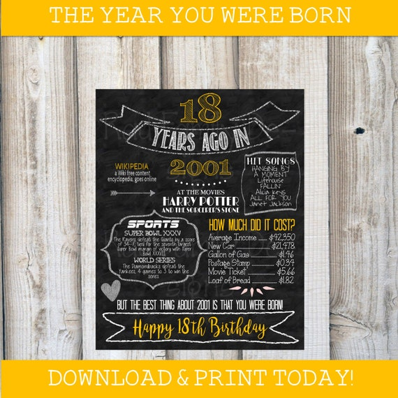 Year You Were Born Birthday Fun Facts 18 Years Ago In 2001 Time Capsule Printable Chalkboard Birthday Print Poster Gold Instant Download