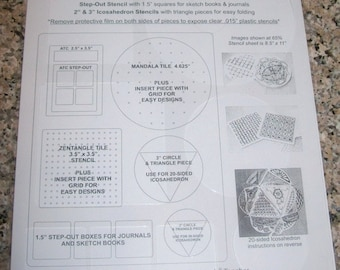 All-in-One Terrific Tangle Stencil   8.5x11  for use with Zentangle(r)