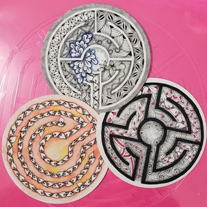 single stencil for Opus Tiles Salted Pink Labyrinth\u2122 Stencil