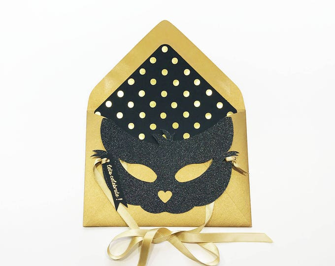 Black Glitter Cat Mask Card