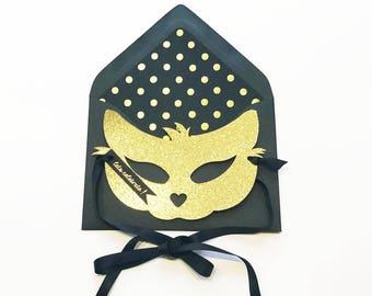 Gold Glitter Cat Mask Card