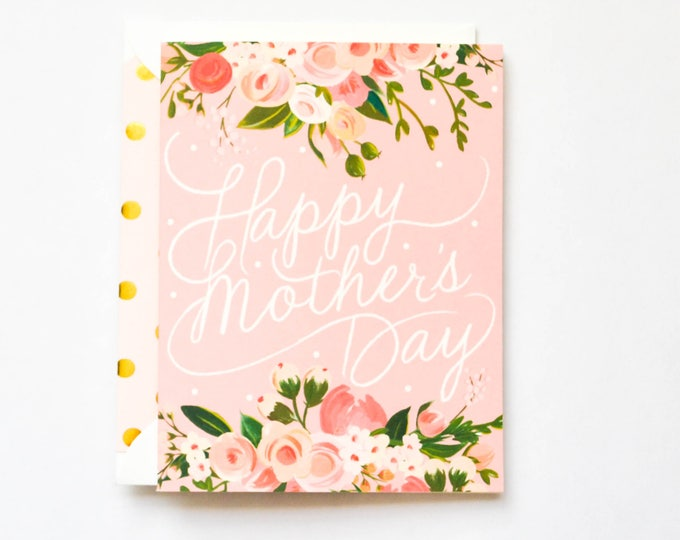 Happy Mother's Day Script and Floral