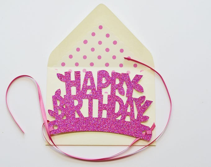 Peony Happy Birthday Glitter Crown Card