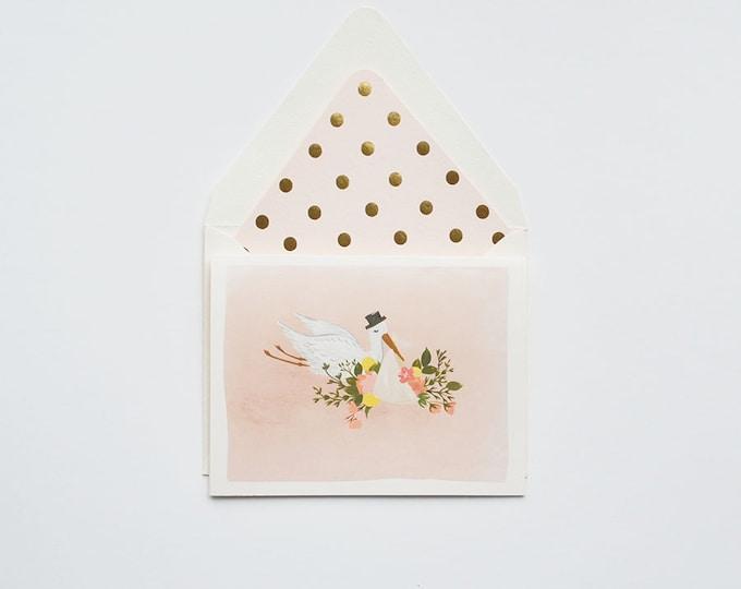 Baby Stork Illustration Card in blush