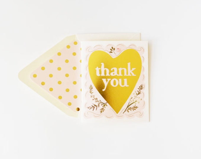 Thank You Gold Foil Heart Card
