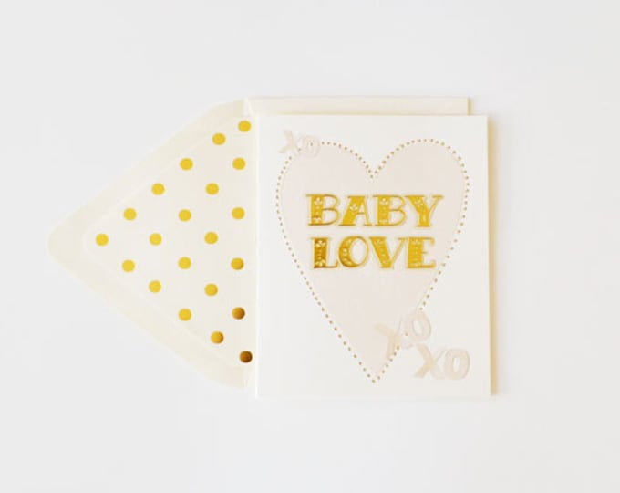 Baby Love Neutral Cream Gold foil