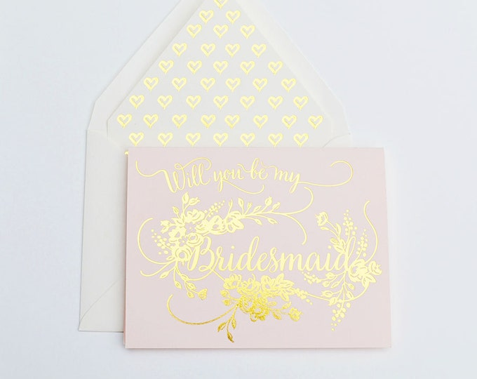 Will you Be My Bridesmaid Card Gold on Blush