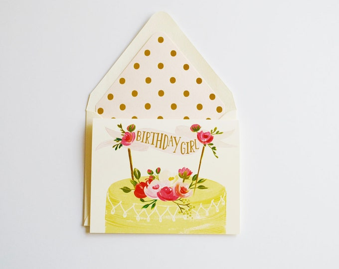 Birthday Girl Cake Card