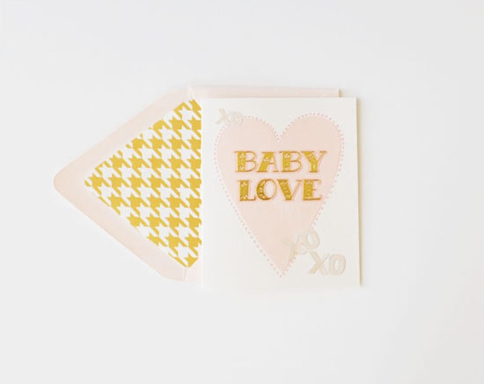 "Baby Announcements - ""Baby Love"" Girl  {Note Card w/Gold Foil Houndstooth Liner}"