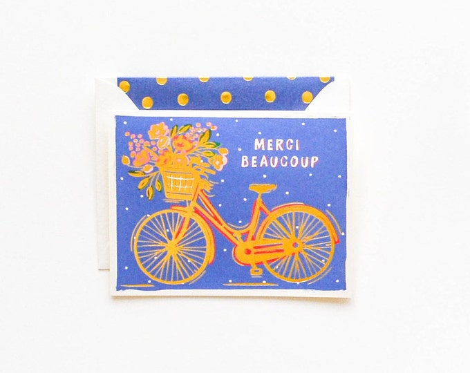 Merci Beaucoup Gold Bicycle Card