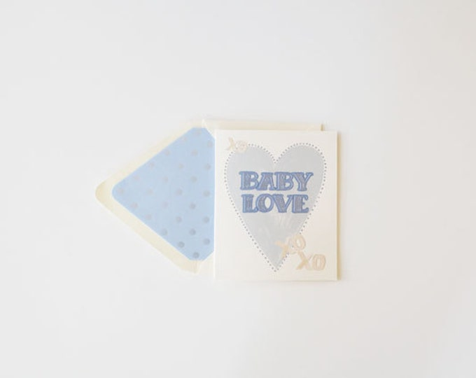 "Baby Announcements ""Baby Love"" Boy {Greeting Card w Blue & Pearl Embossing}"