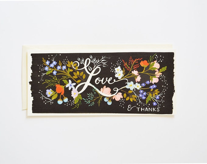 Love Florals Thank You Card Size #10 (Black Background)