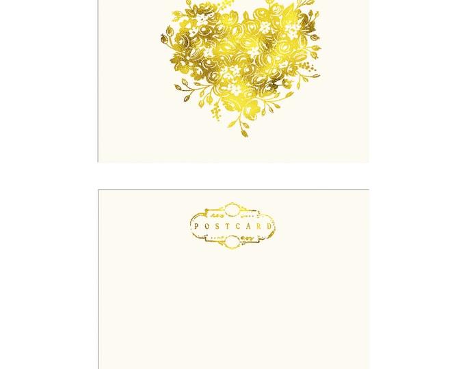 Floral Heart Illustration Postcard in gold foil