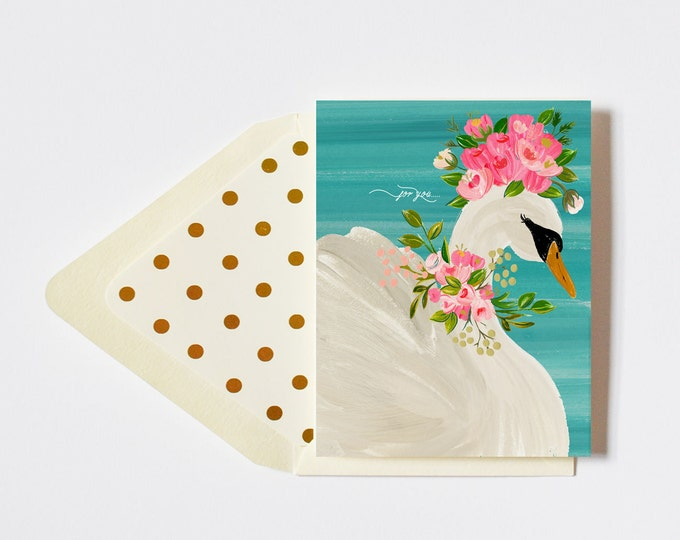 For You Card with Floral Crowned Swan