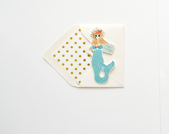 Mermaid Happy Birthday folded card