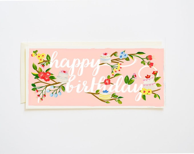 Happy Birthday Card Branches & Cake Blush