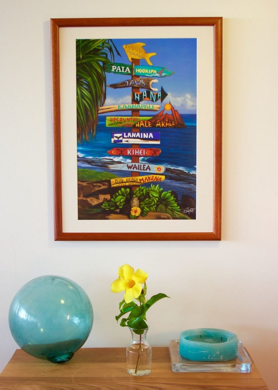 All Ways Great On Maui Hawaiian Travel Signpost Art Painting Etsy