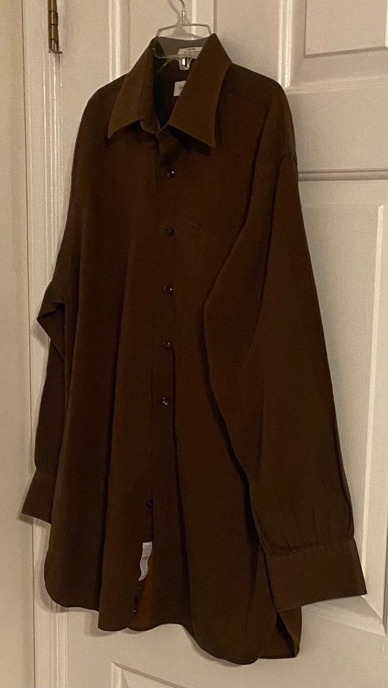 Nordstrom Mens Brown Button Down Long Sleeve Cotton Shirt Size 15 12-33 Vintage John W