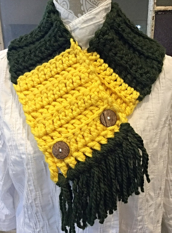 Green Bay Packers Colors Shorter Style Scarf With Buttons And Etsy