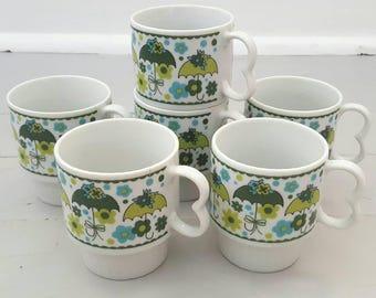 Umbrella Coffee Mugs Set of 6 Teal Green made in Japan
