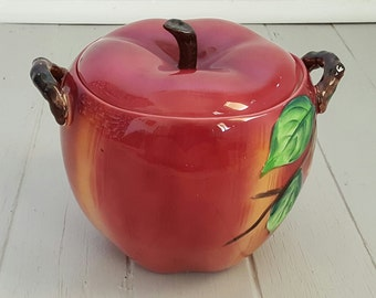 Apple Cookie Jar Canister Ceramic PY Japan 1960's