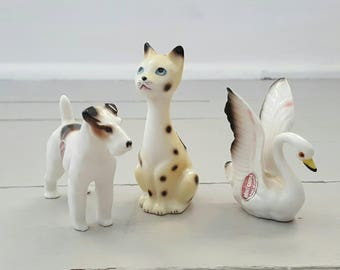 Bone China Figurines Cat Dog Swan Japan