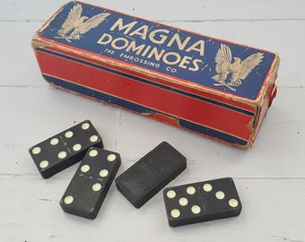 REDUCED Magna Dominoes Wooden 1950's USA Eagle embossed