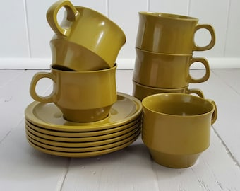 Bessemer Cups & Saucers Olive Green Melmac 6 sets