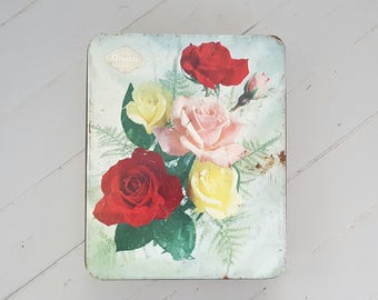 Arnott Biscuits Tin Roses Shabby Chic 1950's