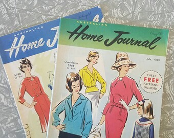 2 Home Journal magazines 1960s includes sewing patterns