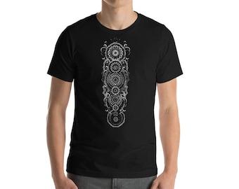 Chakra moon , Mens tshirt, steam punk, yoga  , gym shirt , festival clothes , rave clothes , vegan shirt , sacred geometry , geometric