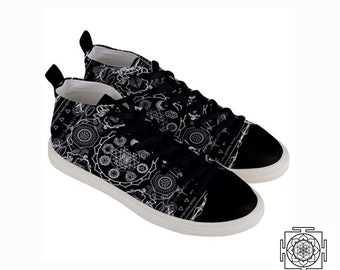 Chakra moon, Womens shoes , mid top , Canvas , sacred geometry , gym , festival footwear ,fitness outfit , festival, geometric