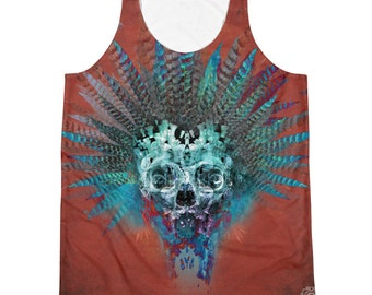 Ancient spirit ,Tank , Festival clothes ,Mens tank top ,Ancestors , Skull, t shirt ,dread,Visionary,Festival outfit, singlet,skater,hardcore