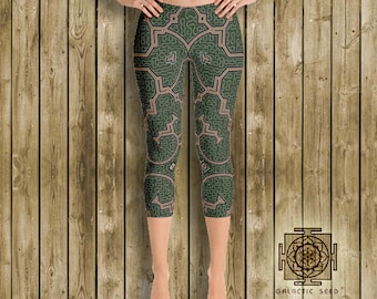 Earth Shipibo Capri Leggings , yoga leggings , womens leggings , festival leggings , sacred geometry , gypsy leggings , boho , earth tones