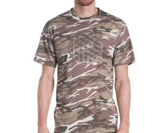 camouflage , mens tshirt , flower of life , sacred geometry , festival ,fishing , grower , weed , festival shirt , sand , brown ,420 , army