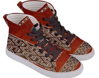 Aztec , Mens , Skate Shoes , Pumps ,hi top, sneakers, Peru , Brown , earth , festival , shipibo , gypsy , nomad , dance , hippie footwear ,