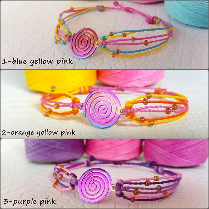 Spiral Mood-boosting Bracelet Sun Earth Circle Boho Festival Stainless Steel Friendship Handmade Gift Infinity Macrame
