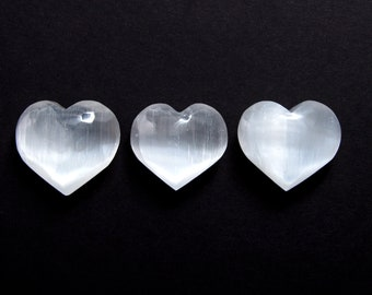 One Selenite Healing Crystal Heart - Extra Large Polished White Healing Crystal - Gemstone for Cleansing and Purification - Aura Work