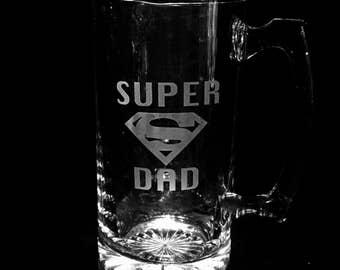Superman, Custom Beer Mug, Superman Father's Day Gift, Personalized etched mug, Custom etched beer mug, Superman Beer Mug