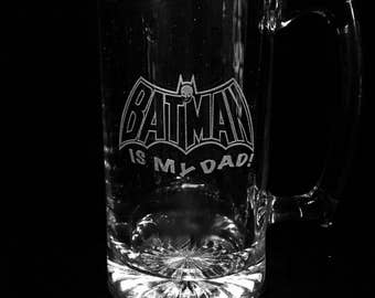 Batman, Custom Beer Mug, Batman Father's Day Gift, Personalized etched mug, Custom etched beer mug, Batman Beer Mug
