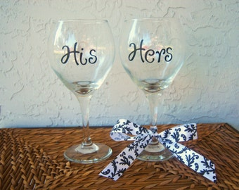 Personalized His and Hers Wine Glasses