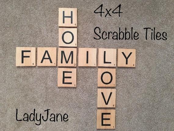 Scrabble Tiles/Scrabble Wall Art/Scrabble Letters/4x4 Wood | Etsy