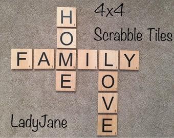 Scrabble Tiles/Scrabble Wall Art/Scrabble Letters/4x4 Wood Tiles/Scrabble Wall Tiles/Family Wall Tiles/Personalized Letters/Wall Gallery