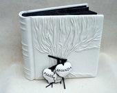Wedding Photo Album Tree of Life, White and Black Leather, Personalized
